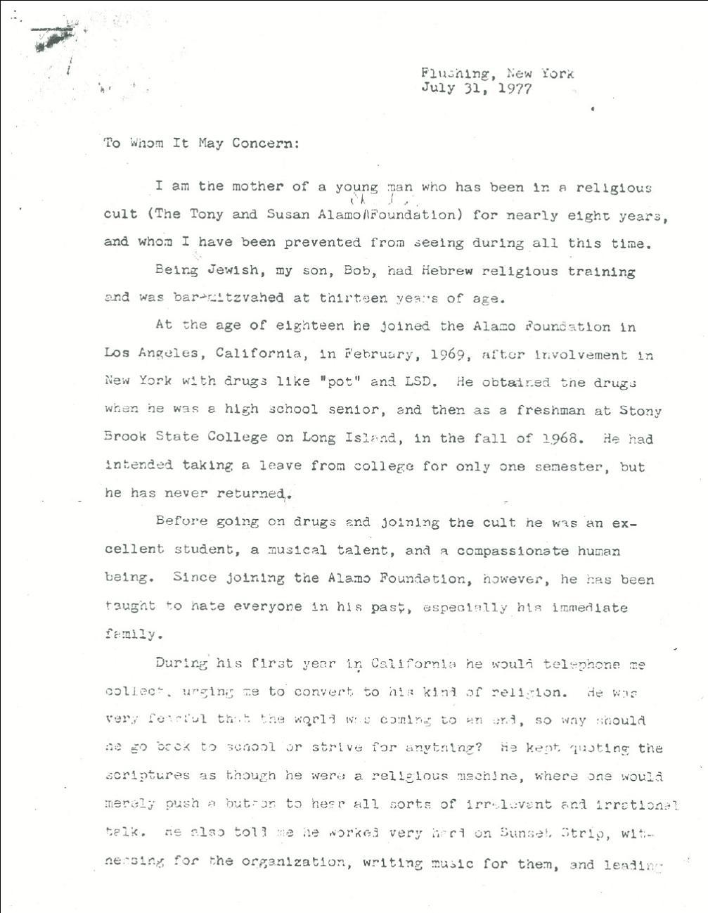 Tony Alamo News  Blog Archive  Ida K s Letter About Her Son Bob